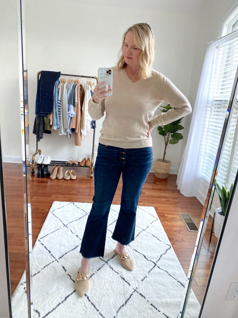 Try-On Session September 2021 - Lilysilk Sweater J Crew Demi-Boot Crop Jeans