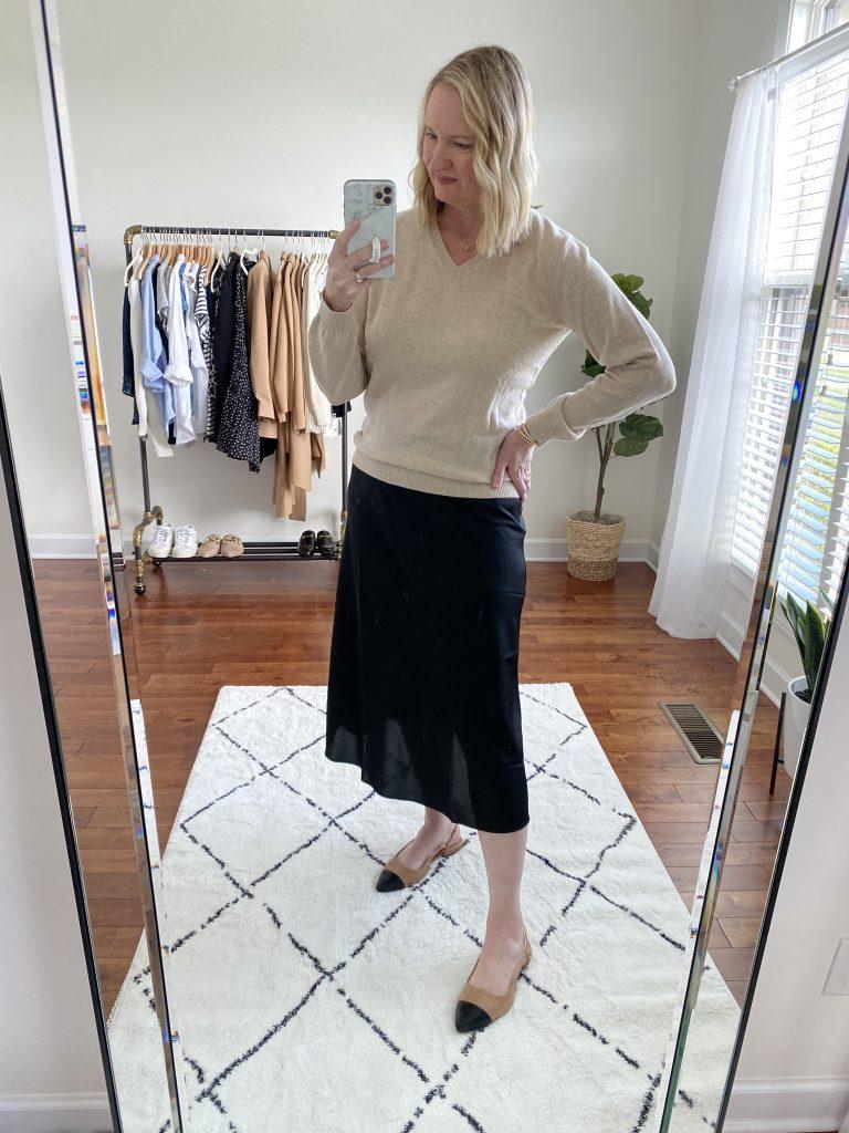 Try-On Session September 2021 - Lilysilk Sweater J Crew Slip Skirt Express Cap Toe Flats