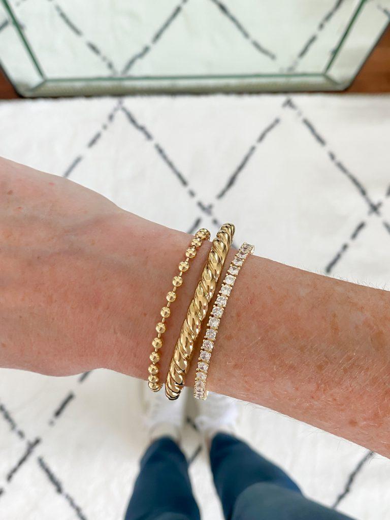Try-On Session September 2021 - Pavoi Tennis Bracelet Mejuri Croissant Dome Bracelet Miranda Frye Fashion Jackson Bracelet