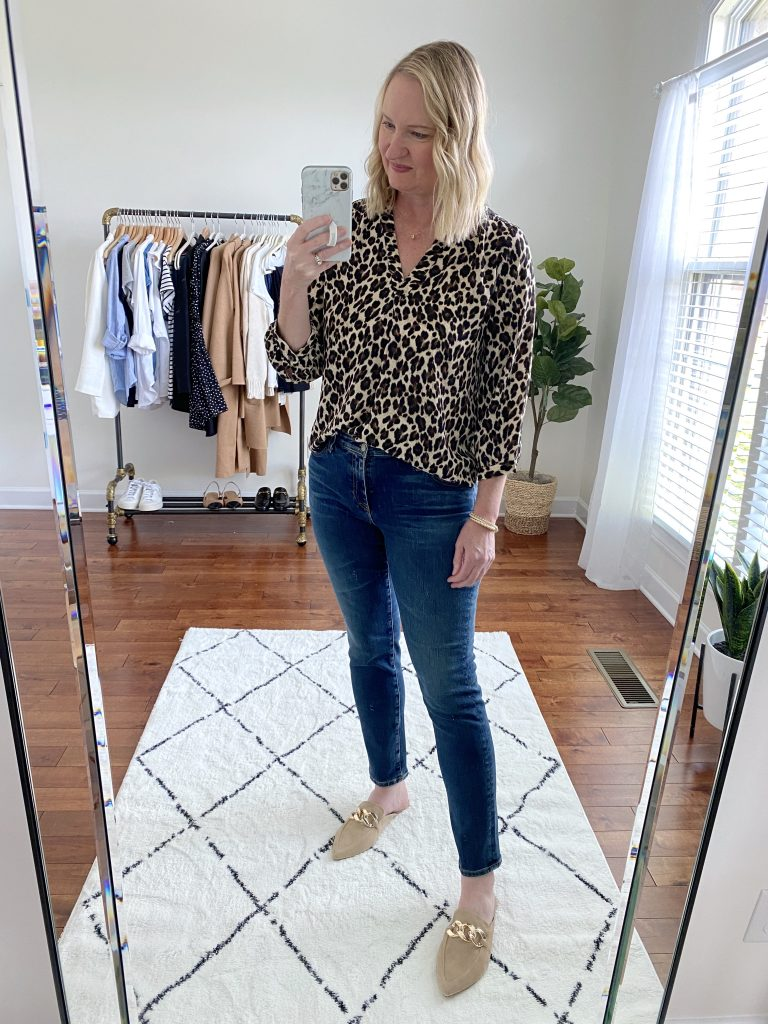 Try-On Session September 2021 - vince camuto blouse AG toothpick jeans steve madden mules
