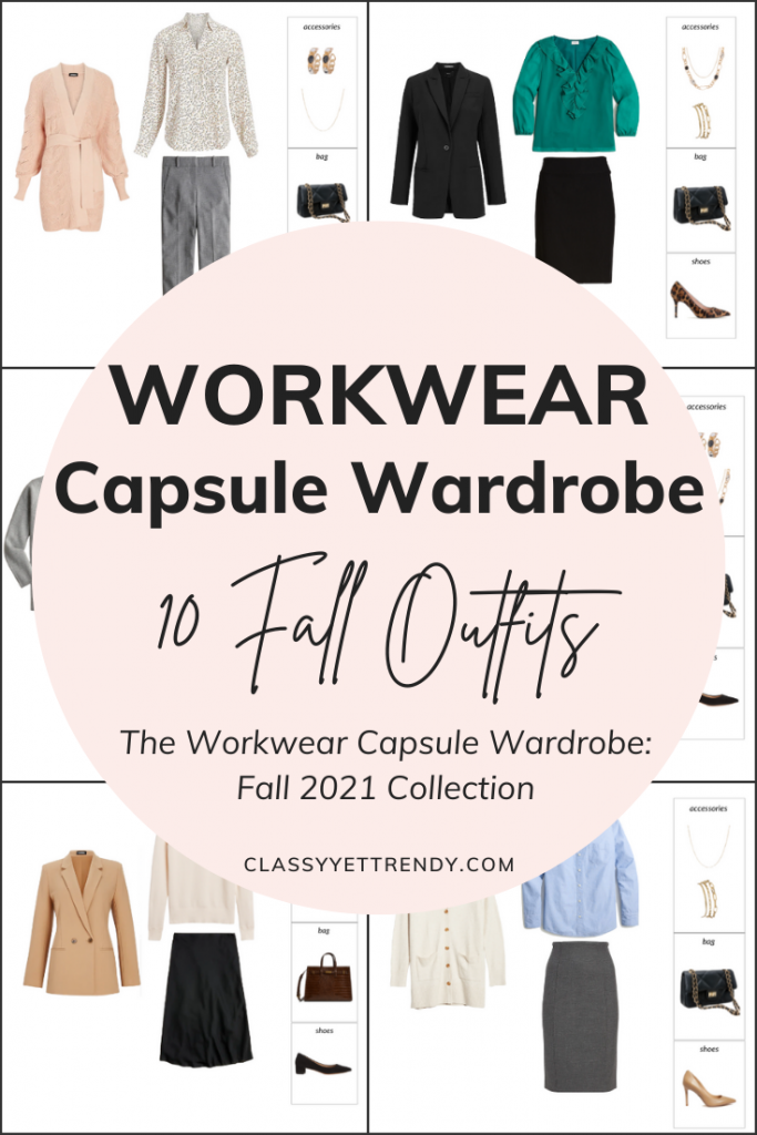Workwear Capsule Wardrobe Fall 2021 - 10 Outfits Preview Pin