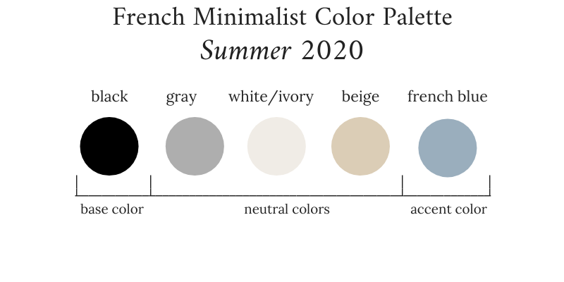 French Minimalist Capsule Wardrobe Summer 2020 Color Palette