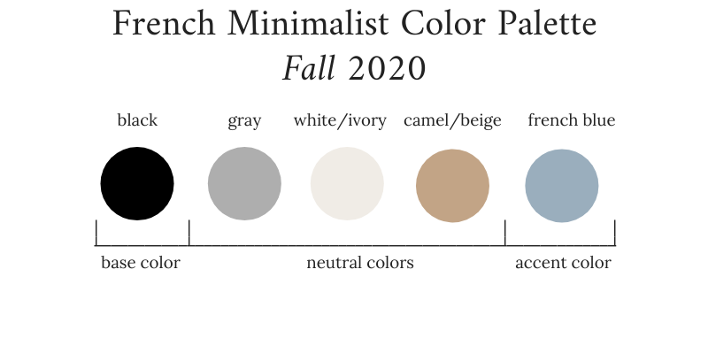 French Minimalist Capsule Wardrobe Fall 2020 Color Palette