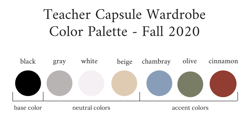 Teacher Capsule Wardrobe Fall 2020 Color Palette