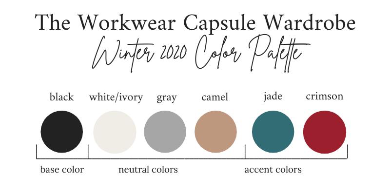 Workwear Capsule Wardrobe Winter 2020 Color Palette