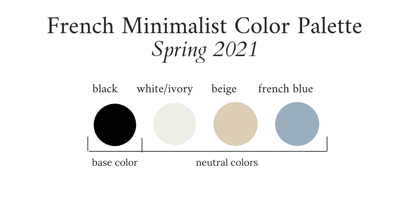 French Minimalist Capsule Wardrobe Spring 2021 Color Palette