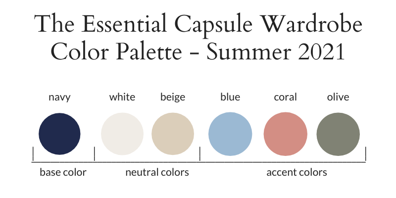 Essential Capsule Wardrobe Summer 2021 Color Palette