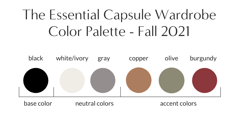 Essential Capsule Wardrobe Fall 2021 Color Palette